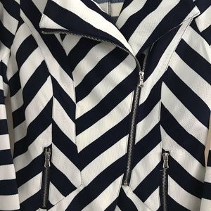Brand New Zip Navy Blue & White Stripe Blazer